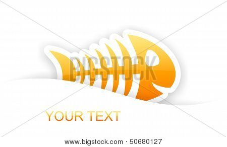 Orange Glossy Fish Bone Sticker Notification