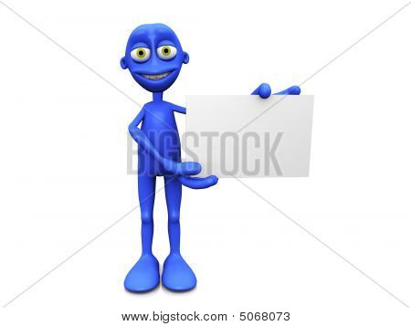 Blue Figure With Blank Sign.