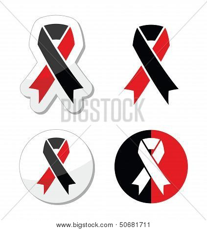 Red and black ribbons set - atheism symbol