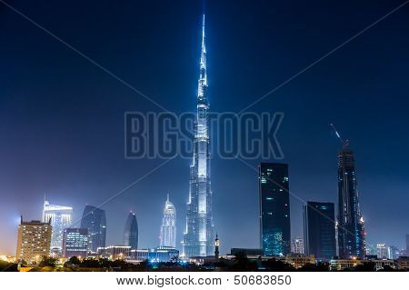 Dubai Panorama And Burj Khalifa Is Currently The Tallest Building In The World, At 829.84 M (2,723 F