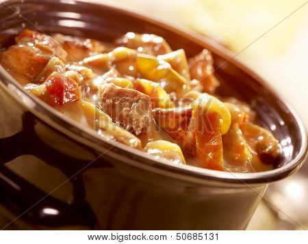A Tasty Stew In A Pot With Tomato And Beef