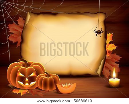 Halloween Background With Pumpkins, Paper, Candle
