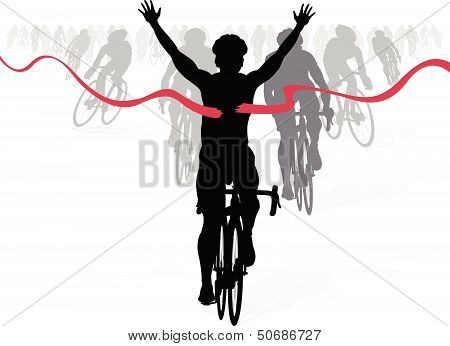 Celebrating Cyclist Wins The Race
