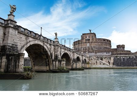 Bridge To Castel Sant'angelo In Rome