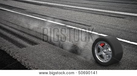 Emergency Braking Wheel With Smoke On The Highway. 3D Render Illustration.