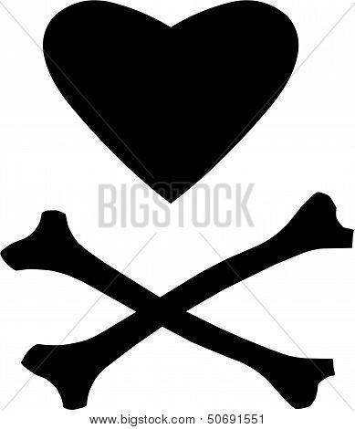 Love Heart and Cross Bones