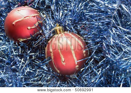 Red Balls In Blue Tinsel