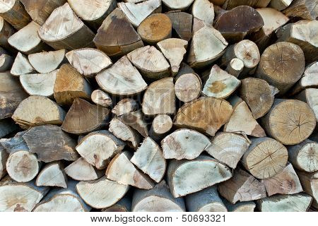 Chopped Firewood Logs In A Pile As Background