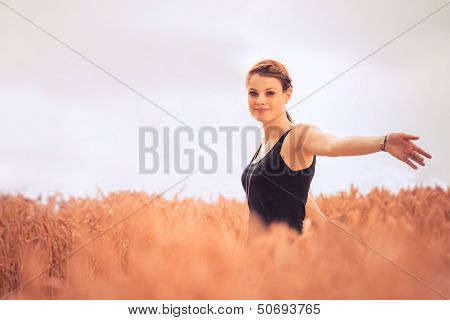 Beautiful Young Woman In Nature Feeling Happy And Free