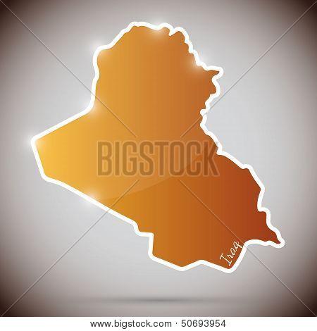 vintage sticker in form of Iraq