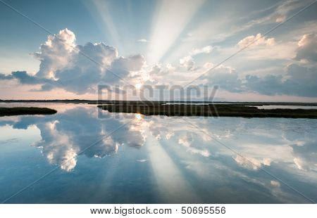 North Carolina OBX Pamlico Sound Light Beam Reflections