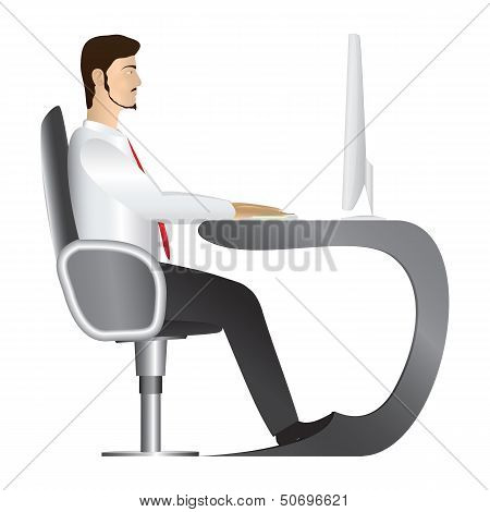 Man Working At Computer. Vector