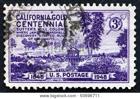 Postage Stamp Usa 1948 Sutter's Mill, Coloma, California