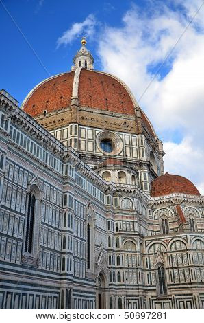 Spectacular view of famous marble cathedral Santa Maria del Fiore in Florence, Italy