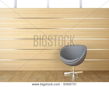 Interior Design Wood Cladding And Chair