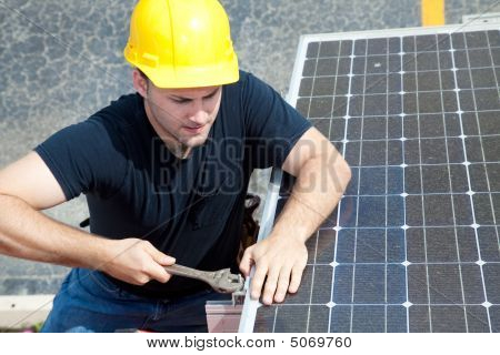 Working On Solar Panel