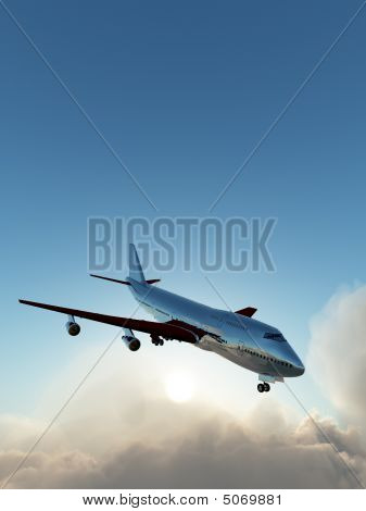 Plane In Flight Over Clouds