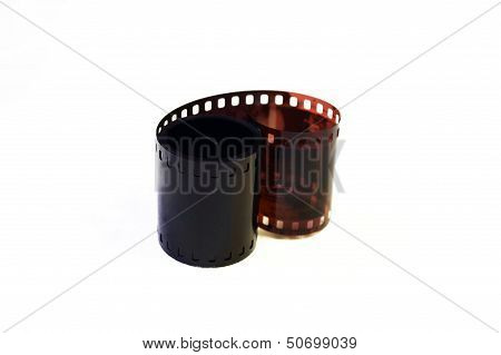 Exposed film roll, isolated on white