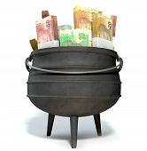 picture of bundle  - A regular cast iron south african potjie pot with a steel handle filled with bundles of south african rand notes on an isolated background - JPG