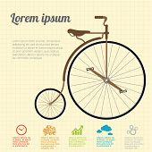 stock photo of mountain chain  - Retro Illustration vintage  Bicycle - JPG
