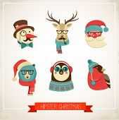 Christmas hipster animals. Vector illustration poster