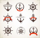 stock photo of ship steering wheel  - Set of vintage nautical icons - JPG