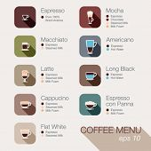 stock photo of latte coffee  - Coffee vector icon set menu - JPG