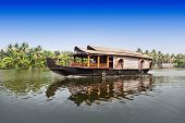 stock photo of alleppey  - Beauty boat in the backwaters Kerala India - JPG