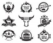 stock photo of burger  - Set of elements for a restaurant designs - JPG
