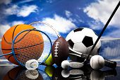 stock photo of balls  - Four Sports - JPG