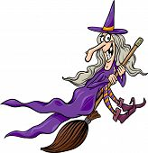 stock photo of broom  - Cartoon Illustration of Funny Fantasy or Halloween Witch Flying on Broom - JPG