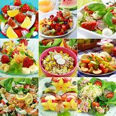 foto of vegetable food fruit  - Collage of Different delicious vegetable and fruit salads - JPG
