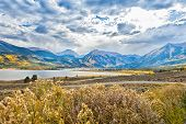 stock photo of blue-bell  - Beautiful and majestic Twin Lakes Colorado sits at the base of the highest peak of Mount Elbert  - JPG