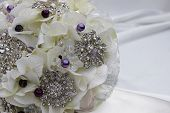 stock photo of brooch  - A home made  elegant bridal brooch bouquet - JPG