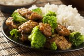 stock photo of chinese wok  - Homemade Asian Beef and Broccoli with Rice - JPG