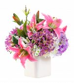 image of hydrangea  - Bouquet of pink lily and hydrangea in ceramic vase isolated on white  - JPG