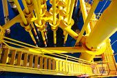 stock photo of oilfield  - Oil and Gas Producing Slots at Offshore Platform  - JPG