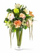 stock photo of vase flowers  - Bouquet of roses and hydrangea flowers in glass vase isolated on white - JPG