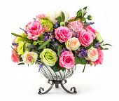 pic of hydrangea  - Bouquet of roses hydrangea and orchid in glass vase isolated on white - JPG