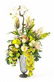 image of calla  - Bouquet of orchid rose and calla lily flower in glass vase isolated on white - JPG
