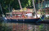 stock photo of alleppey  - Boat in backwaters in alappuzha Kerala India