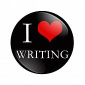 picture of writing  - I Love Writing button A black and red button with words I love Writing isolated on a white background - JPG