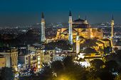 stock photo of constantinople  - Hagia Sofia of Istanbul at Night in Turkey - JPG