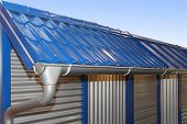 foto of gutter  - Complete system of rain gutter for collects rainwater - JPG