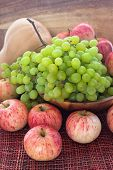 Autumnal Ripe Fruits And Veg - Green Grape, Red Apples And Pumpkin poster