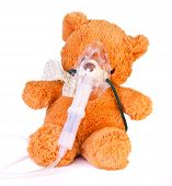pic of oxygen mask  - Oxygen mask on a brown bear - JPG