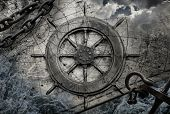 image of historical ship  - Vintage navigation background illustration with steering wheel charts anchor chains - JPG