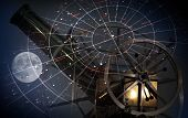 stock photo of zodiac  - Astronomical abstract background with star map old telescope and moon - JPG