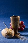 picture of communion-cup  - First Holy Communion composition on blue background - JPG