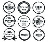 stock photo of high-quality  - Nine Scalable Badges in vintage style.
